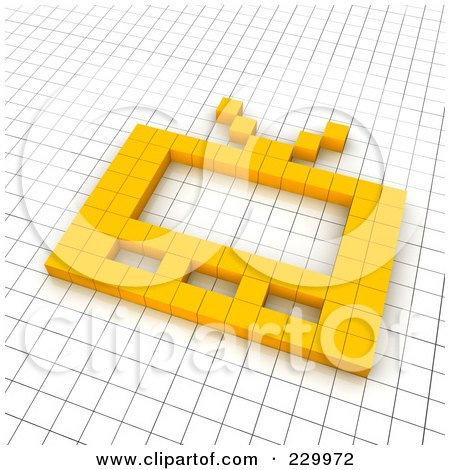 Royalty-Free (RF) Clipart Illustration of a 3d TV Icon Made Of Yellow Pixels On A Grid by Jiri Moucka