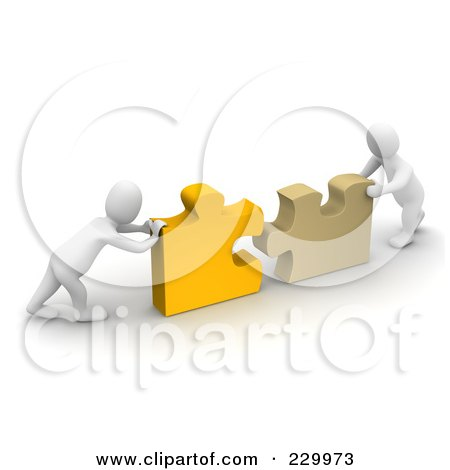 Royalty-Free (RF) Clipart Illustration of 3d Blanco Men Pushing Together Pieces Of A Puzzle by Jiri Moucka