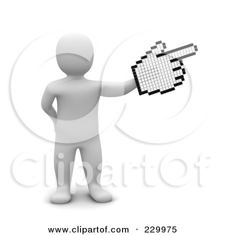 Royalty-Free (RF) Clipart Illustration of a 3d Blanco Man Pointing With A Cursor Hand by Jiri Moucka