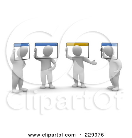 Royalty-Free (RF) Clip Art Illustration of 3d Blanco Men Holding A Video Conference, Their Heads In Computer Windows by Jiri Moucka
