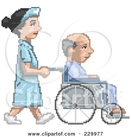 Royalty-Free (RF) Clipart Illustration of a Pixelated Nurse Pushing A Patient In A Wheelchair by Tonis Pan