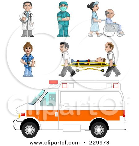 Royalty-Free (RF) Clipart Illustration of a Digital Collage Of Pixelated Paramedics And Doctors by Tonis Pan