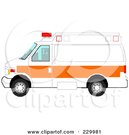 Royalty-Free (RF) Clipart Illustration of a Pixelated White And Orange Ambulance by Tonis Pan