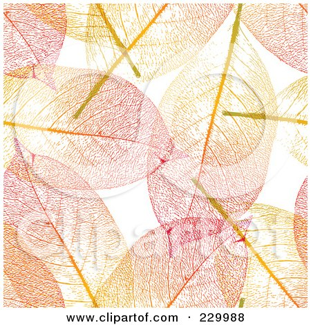 Royalty-Free (RF) Clipart Illustration of a Colorful Background Of Autumn Colored Skeleton Leaves by Anja Kaiser