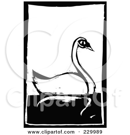 Royalty-Free (RF) Clipart Illustration of a Black And White Woodcut Styled Swan With A Black Border by xunantunich