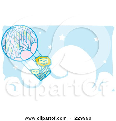 Royalty-Free (RF) Clipart Illustration of a Lion Pair In A Hot Air Balloon In A Blue, Starry Cloudy Sky by xunantunich