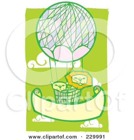 Royalty-Free (RF) Clipart Illustration of a Lion Pair In A Hot Air Balloon In A Green Cloudy Sky by xunantunich
