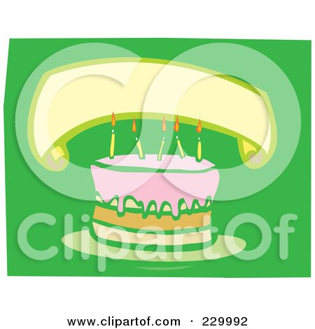 Royalty-Free (RF) Clipart Illustration of a Blank Banner Over A Birthday Cake With Candles On Green by xunantunich