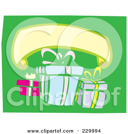 Royalty-Free (RF) Clipart Illustration of a Blank Banner Over Birthday Presents On Green by xunantunich