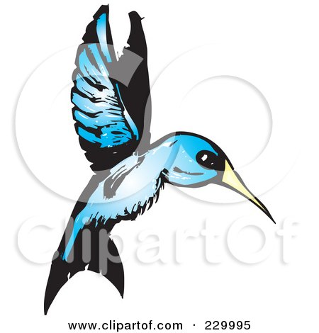 Royalty-Free (RF) Clipart Illustration of a Blue Hummingbird In Flight by xunantunich