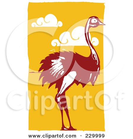 Royalty-Free (RF) Clipart Illustration of a Wild Ostrich Over Orange With Clouds by xunantunich