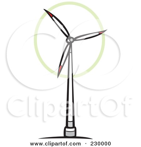 White And Red Wind Turbine Spinning Posters, Art Prints