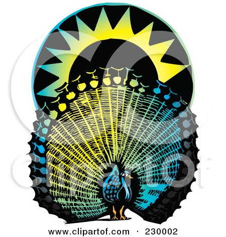 Royalty-Free (RF) Clipart Illustration of a Colorful Peacock And Sun by xunantunich