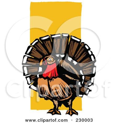 Royalty-Free (RF) Clipart Illustration of a Wild Turkey Bird Over Orange by xunantunich
