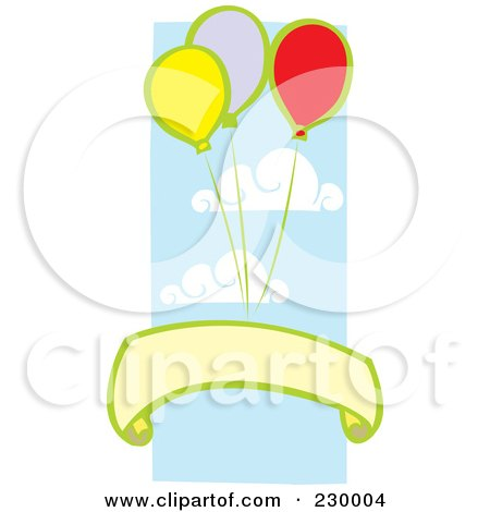 Royalty-Free (RF) Clipart Illustration of a Blank Banner Under Party Balloons In The Sky by xunantunich