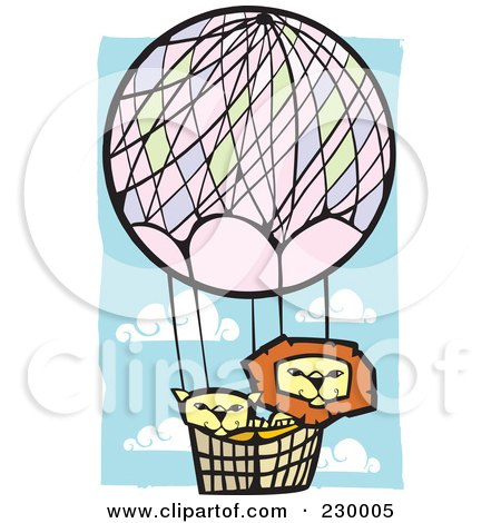 Royalty-Free (RF) Clipart Illustration of a Lion Pair In A Hot Air Balloon In A Blue Cloudy Sky by xunantunich