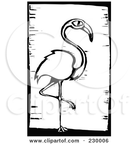 Royalty-Free (RF) Clipart Illustration of a Black And White Woodcut Styled Flamingo With A Black Border by xunantunich