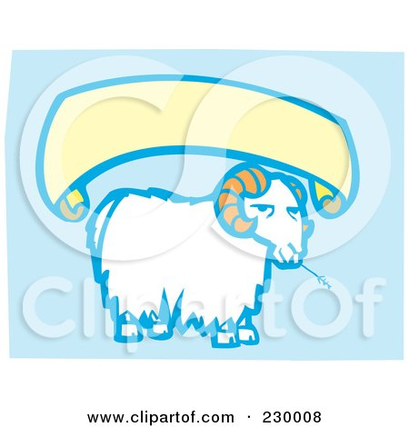 Royalty-Free (RF) Clipart Illustration of a Blank Banner Over A Sheep Eating Hay On Blue by xunantunich