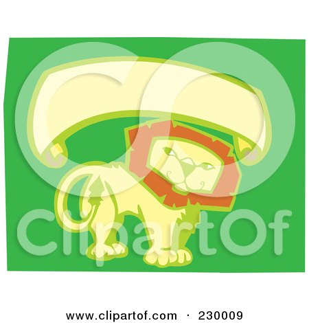 Royalty-Free (RF) Clipart Illustration of a Blank Banner Over A Thoughtful Lion On Green by xunantunich