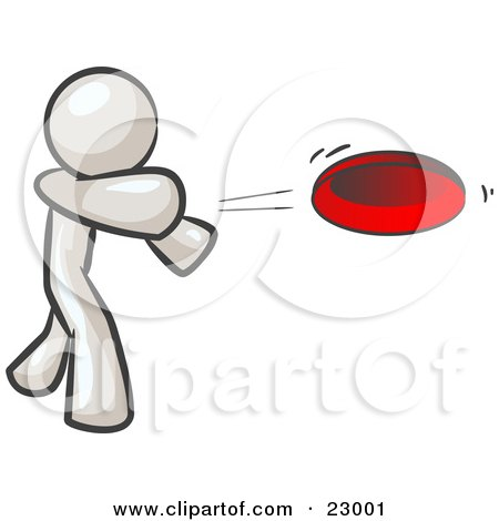 Clipart Illustration of a White Man Tossing A Red Flying Disc Through The Air For Someone To Catch by Leo Blanchette
