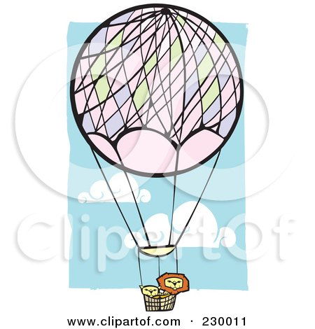 Royalty-Free (RF) Clipart Illustration of Lions In A Hot Air Balloon In A Blue Cloudy Sky by xunantunich