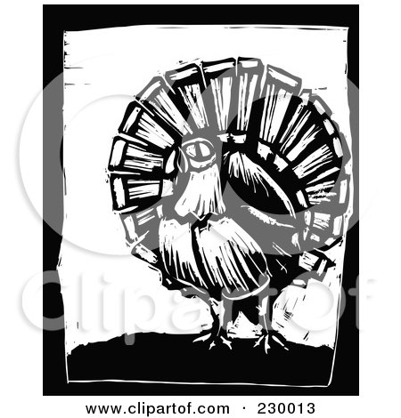 Royalty-Free (RF) Clipart Illustration of a Black And White Woodcut Styled Turkey With A Black Border by xunantunich