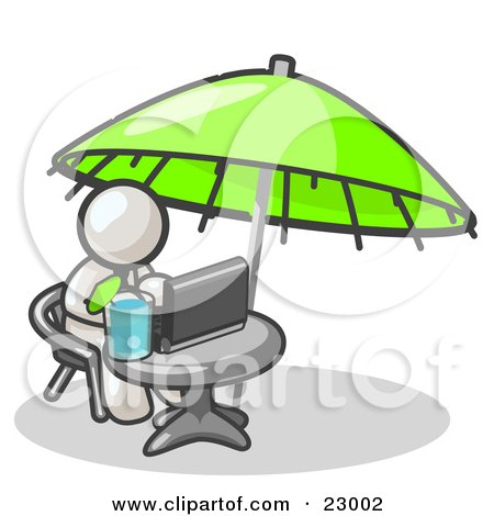 Traveling White Business Man Sitting Under an Umbrella at a Table Using a Laptop Computer  Posters, Art Prints