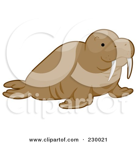 Royalty-Free (RF) Clipart Illustration of a Happy Walrus by BNP Design Studio