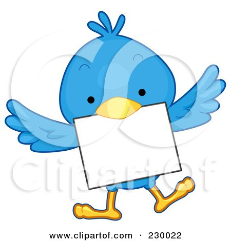Royalty-Free (RF) Clipart Illustration of a Cute Blue Bird With A Blank Sign - 6 by BNP Design Studio