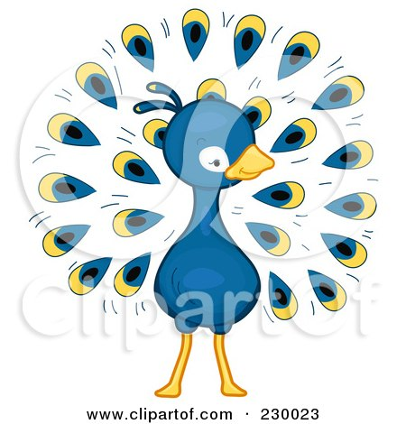 Royalty-Free (RF) Clipart Illustration of a Cute Peacock by BNP Design Studio