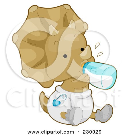 Royalty-Free (RF) Clipart Illustration of a Cute Baby Triceratops Dino Holding A Bottle And Wearing A Diaper by BNP Design Studio