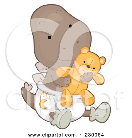 Royalty-Free (RF) Clipart Illustration of a Cute Baby Stegosaurus Dino Holding A Teddy Bear And Wearing A Diaper by BNP Design Studio