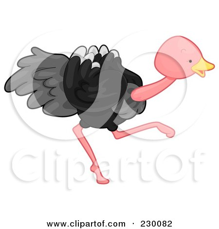 Royalty-Free (RF) Clipart Illustration of a Cute Ostrich Running by BNP Design Studio