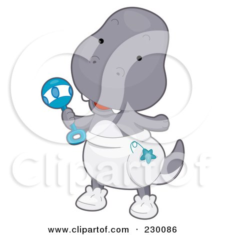Royalty-Free (RF) Clipart Illustration of a Cute Baby T Rex Dino Wearing A Diaper And Holding A Rattle by BNP Design Studio