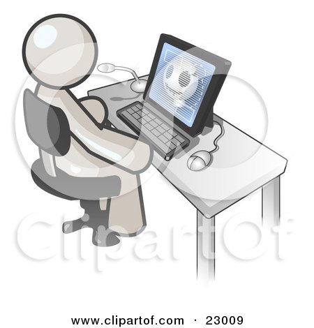 Clipart Illustration of a White Doctor Man Sitting at a Computer and Viewing an Xray of a Head  by Leo Blanchette