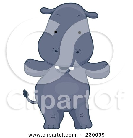 Royalty-Free (RF) Clipart Illustration of a Happy Hippo Standing by BNP Design Studio