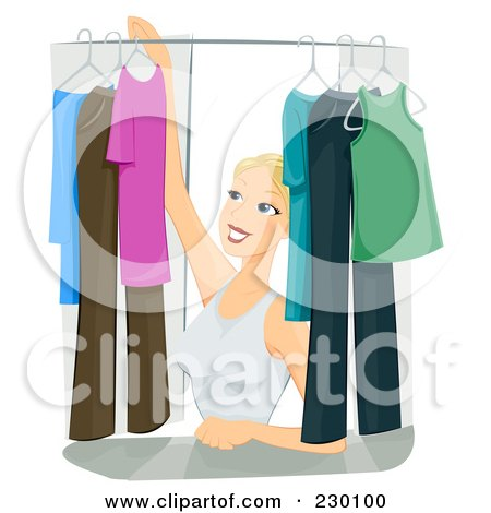 Royalty-Free (RF) Clipart Illustration of a Pretty Woman Organizing Clothes In Her Closet by BNP Design Studio