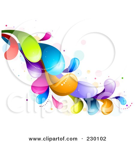 Royalty-Free (RF) Clipart Illustration of a Colorful Rainbow Splash - 3 by BNP Design Studio
