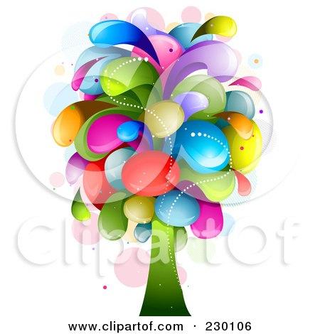 Royalty-Free (RF) Clipart Illustration of a Rainbow Splash Tree by BNP Design Studio
