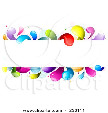 Royalty-Free (RF) Clipart Illustration of a White Frame Bordered In Rainbow Splashes by BNP Design Studio