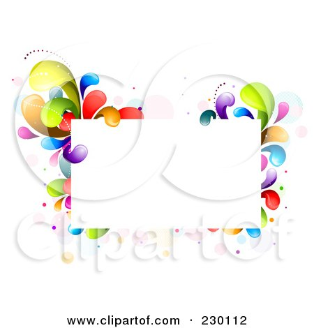 Royalty-Free (RF) Clipart Illustration of a Rectangular Frame Bordered In Rainbow Splashes by BNP Design Studio