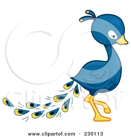 Royalty-Free (RF) Clipart Illustration of a Cute Peacock Walking Right by BNP Design Studio