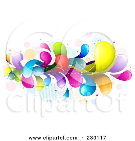 Royalty-Free (RF) Clipart Illustration of a Colorful Rainbow Splash - 4 by BNP Design Studio