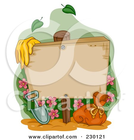 Royalty-Free (RF) Clipart Illustration of Garden Gloves By A Shovel And Bag With Flowers An A Blank Wood Sign by BNP Design Studio