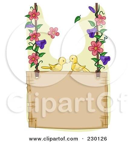 Royalty-Free (RF) Clipart Illustration of a Pair Of Birds On A Hanging Garden Sign With Floral Vines by BNP Design Studio