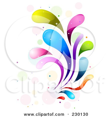 Royalty-Free (RF) Clipart Illustration of a Colorful Rainbow Splash - 9 by BNP Design Studio