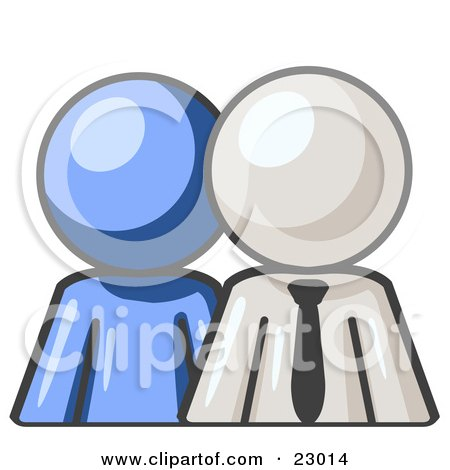 Clipart Illustration of a Blue Person Standing Beside A White Businessman, Symbolizing Teamwork Or Mentoring by Leo Blanchette