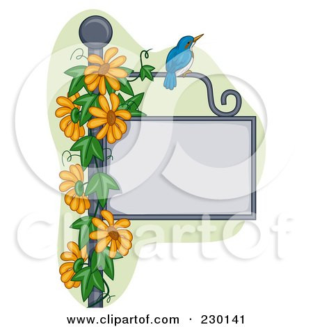 Royalty-Free (RF) Clipart Illustration of a Blue Bird On A Blank Sign Post With Orange Flowers by BNP Design Studio
