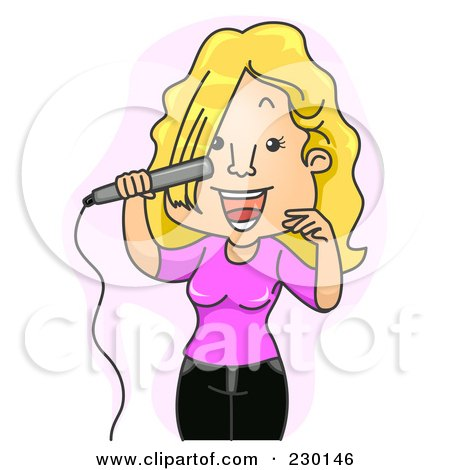 Royalty-Free (RF) Clipart Illustration of a Woman Flat Ironing Her Hair Over Purple by BNP Design Studio
