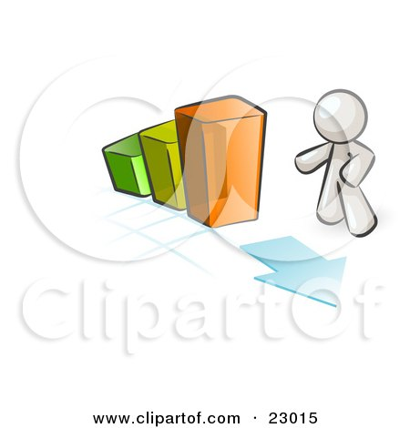 Clipart Illustration of a White Man Standing By An Increasing Green, Yellow And Orange Bar Graph On A Grid Background With An Arrow by Leo Blanchette